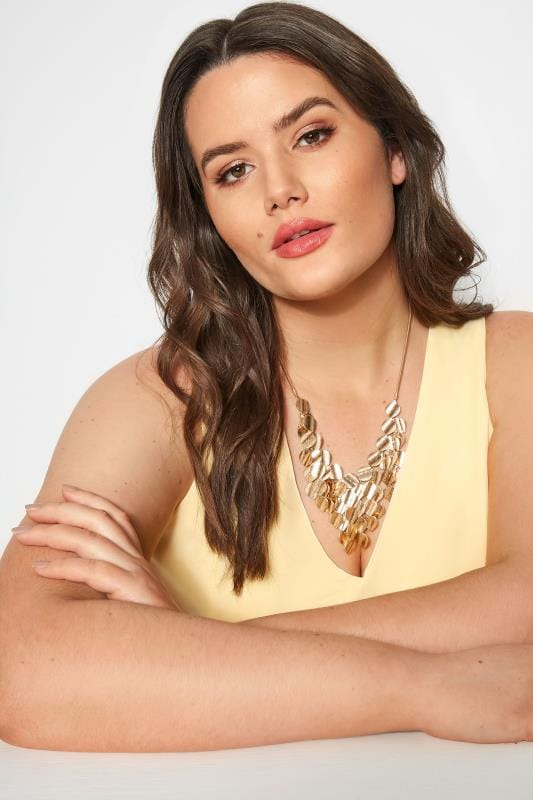 Plus Size Jewelry Gold Bib Necklace