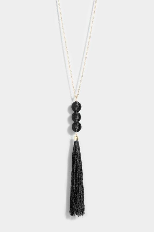 Gold & Black Ball Tassel Necklace