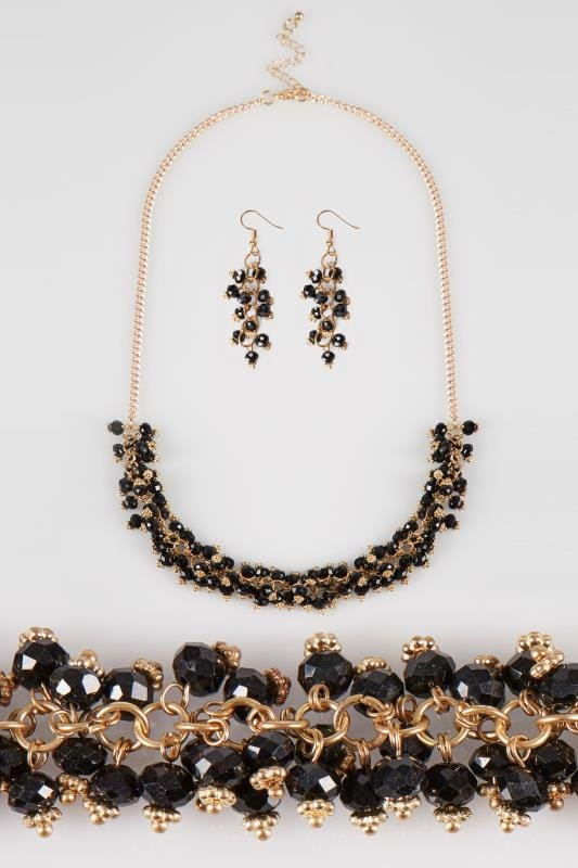 Sets Gold & Black Beaded Necklace & Earrings Set 152334