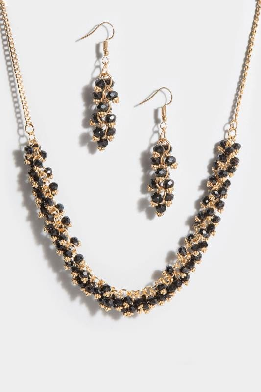 Gold & Black Bead Necklace & Earrings Set