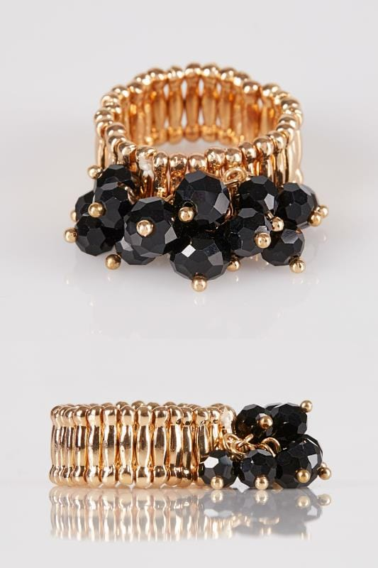 Rings Gold & Black Beaded Stretch Ring 152346