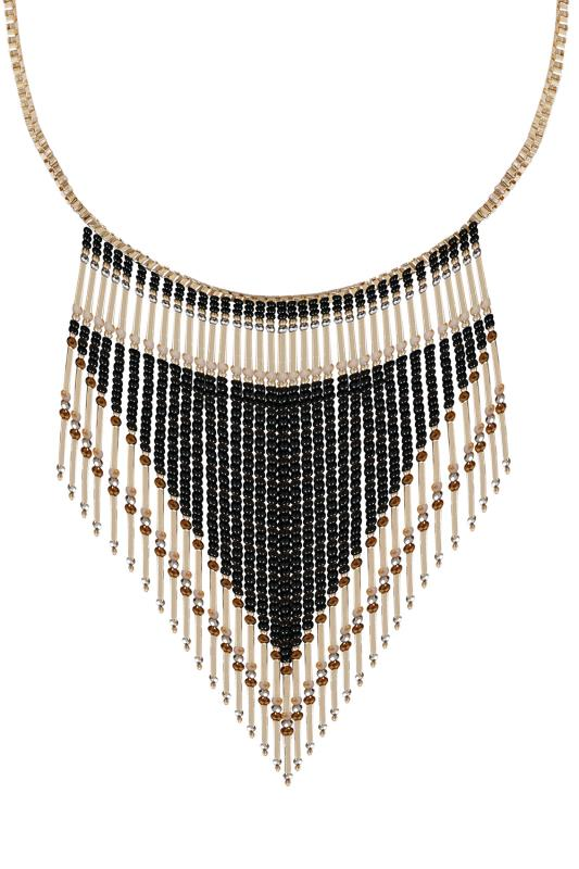 Gold & Black Bead Tassel Necklace
