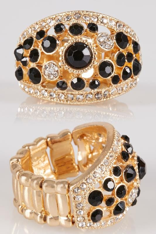 Rings Gold & Black Diamante Stretch Ring 152453