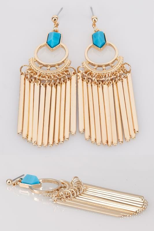 Gold & Blue Stone Drop Tassel Earrings