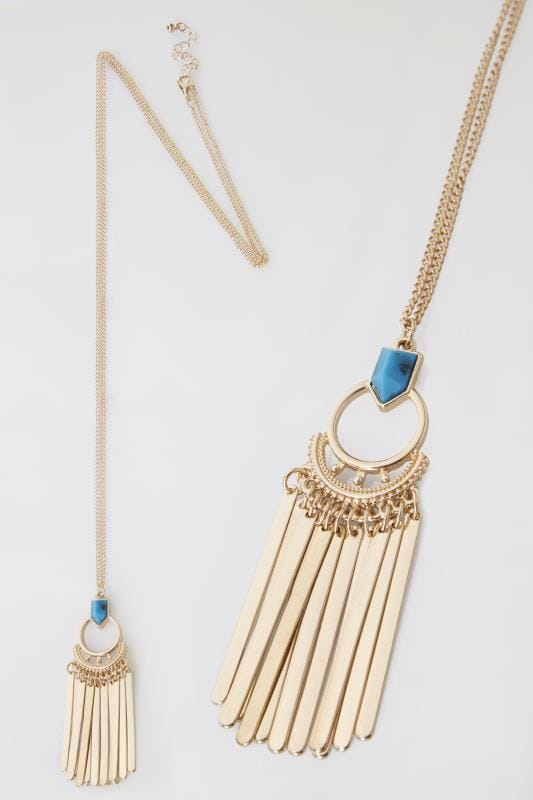 Gold & Blue Stone Pendant and Drop Tassel Long Necklace