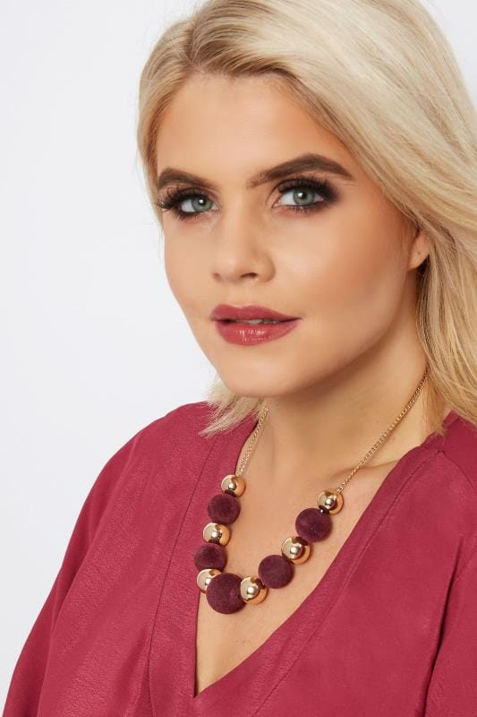 Gold & Burgundy Ball Necklace