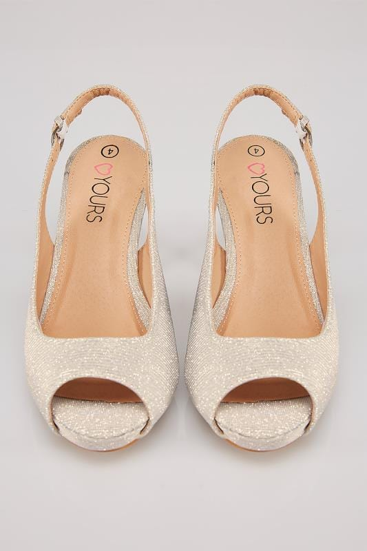 Gold Glittery Peep Toe Sling Back Heels In True EEE Fit