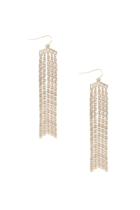 Jewellery Gold Chain Drop Earrings 102764