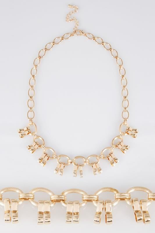 Gold Chain Trim Statement Necklace