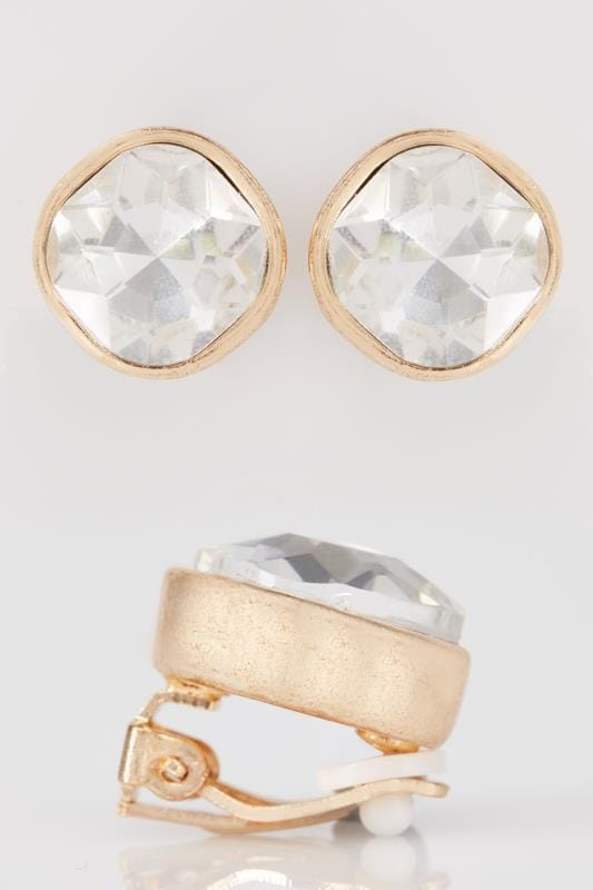 Gold Clip On Earrings With Large Diamante