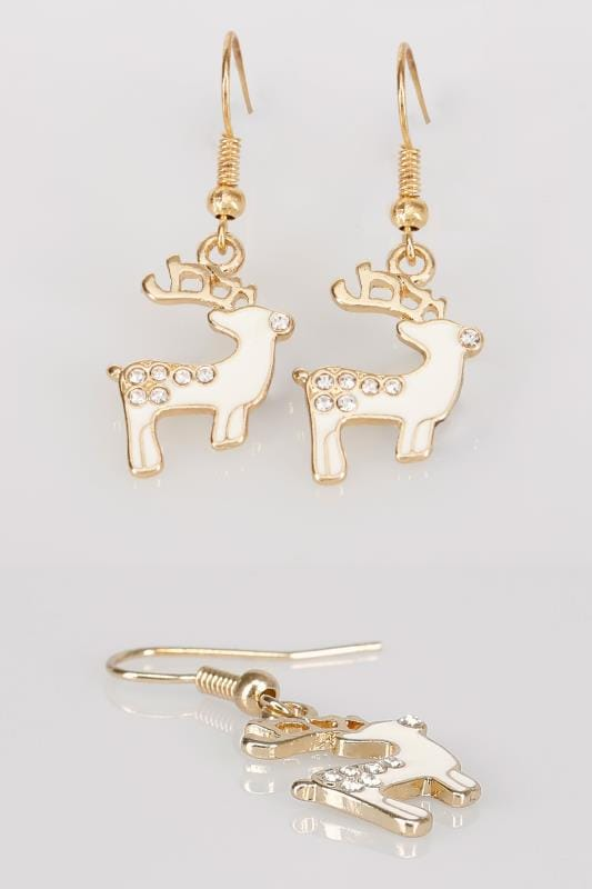 Plus Size Jewellery Gold & Cream Christmas Reindeer Dangle Earrings