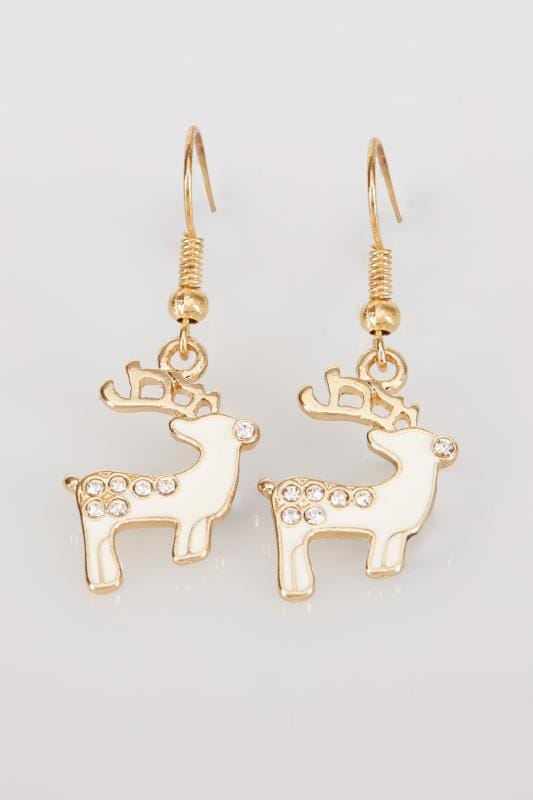 Gold & Cream Christmas Reindeer Dangle Earrings