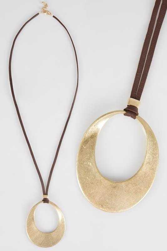Plus Size Jewellery Gold Cut Out Circle Pendant Necklace
