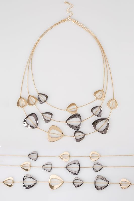 Gold Cut Out Layered Necklace