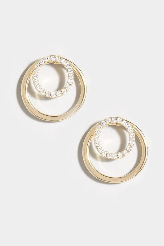 Gold Diamante Circle Earrings