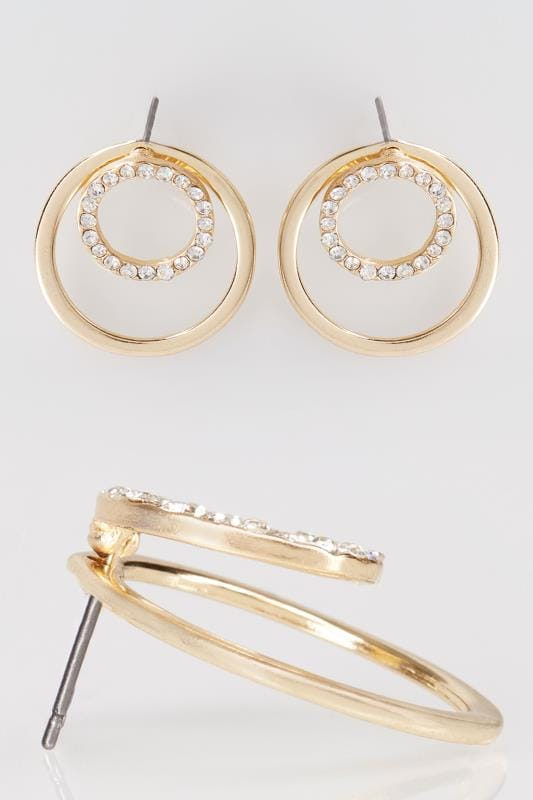 Gold Diamante Double Circle Earrings