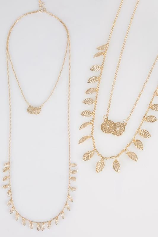 Plus Size Necklaces Gold Double Layer Leaf & Circle Pendant Long Necklace