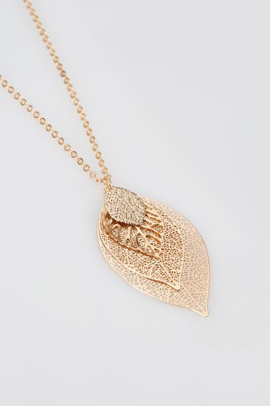 Gold Drop Leaf Pendant Necklace