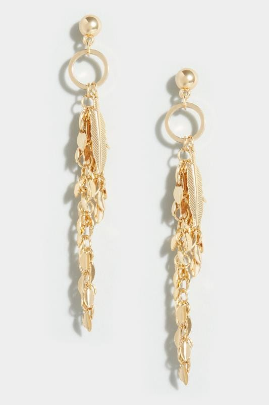 Gold Feather & Leaf Drop Earrings