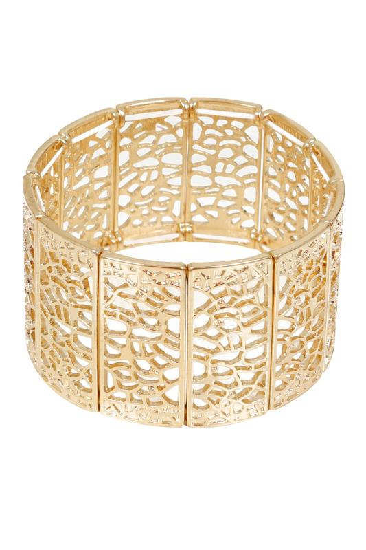 Gold Filigree Stretch Cuff Bracelet