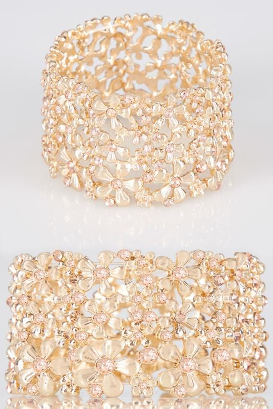 Bracelets Gold Floral Diamante Stretch Bracelet 152365