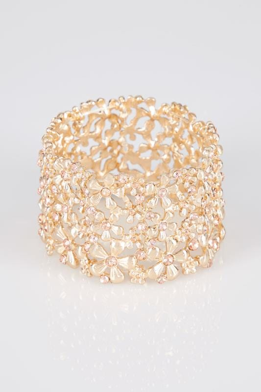 Gold Floral Diamante Stretch Bracelet