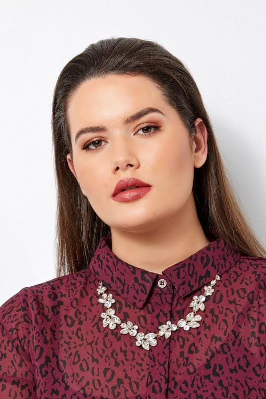 Plus Size Jewellery Gold Floral Necklace