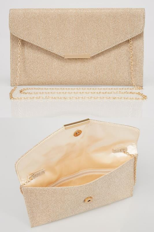 Gold Glitter Clutch Bag With Cross Body Chain