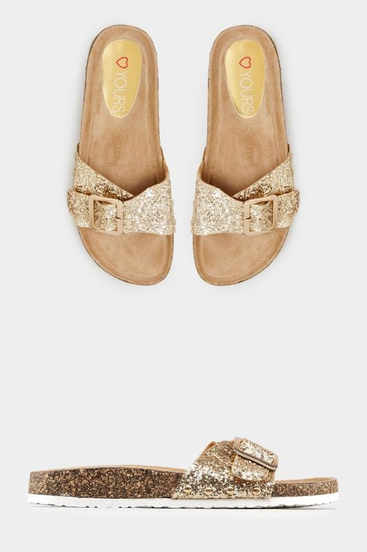 Plus Size Flats Gold Glitter Cork Effect Sandals In EEE Fit