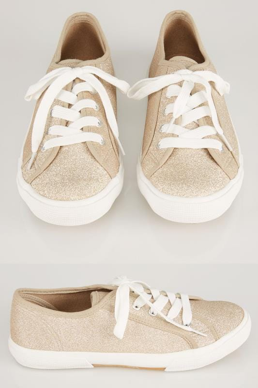 Gold Glitter Lace Up Canvas Trainers In EEE Fit