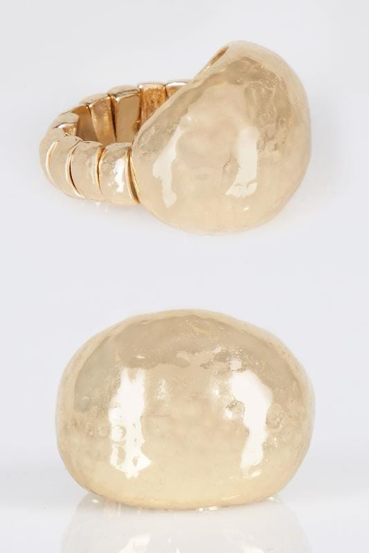 Gold Hammered Circle Ring