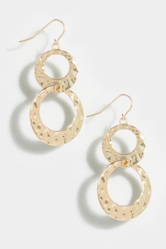 Gold Hammered Double Circle Drop Earrings