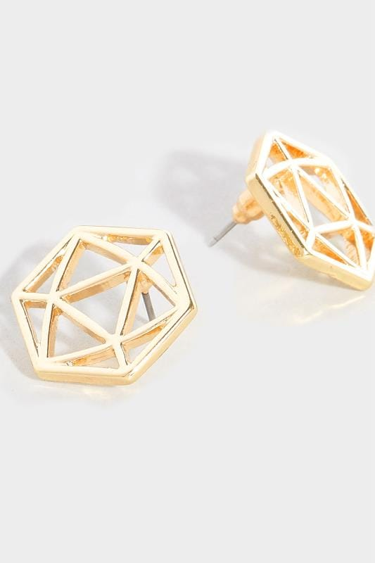 Gold Hexagonal Earrings