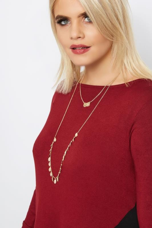 Plus Size Necklaces Gold Layered Circle & Leaf Necklace