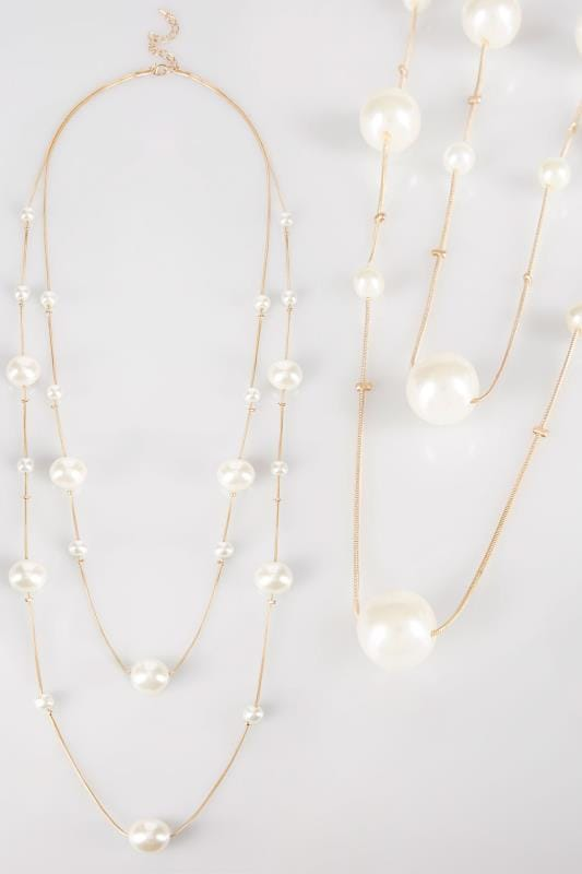 Plus Size Necklaces Gold Layered Pearl Necklace
