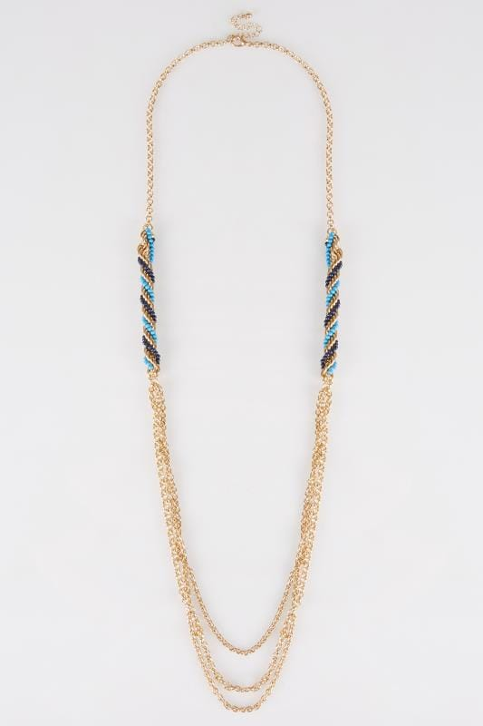 Gold Long Necklace With Blue & Turquoise Beads