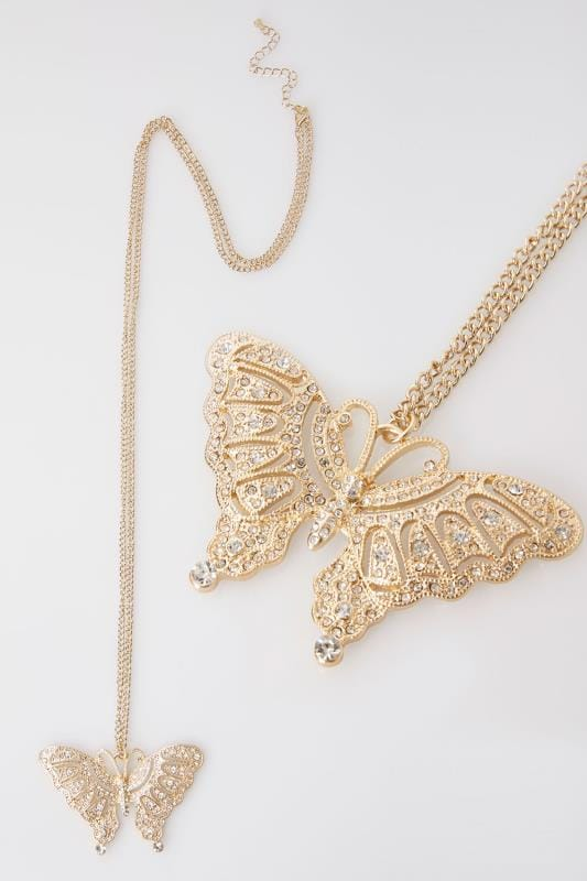 Necklaces Gold Long Necklace With Diamante Butterfly Pendant 152178