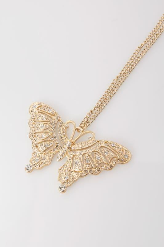 Gold Long Necklace With Diamante Butterfly Pendant
