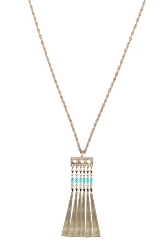 Gold Long Necklace With Turquoise Beaded Pendant
