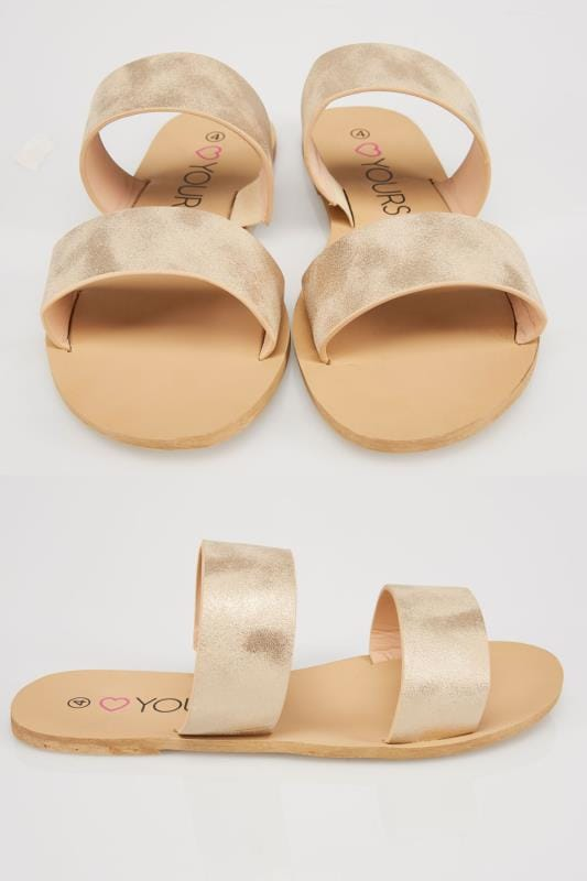 Wide Fit Sandals Gold Metallic Two Strap Slip On Flat Sandals In EEE Fit
