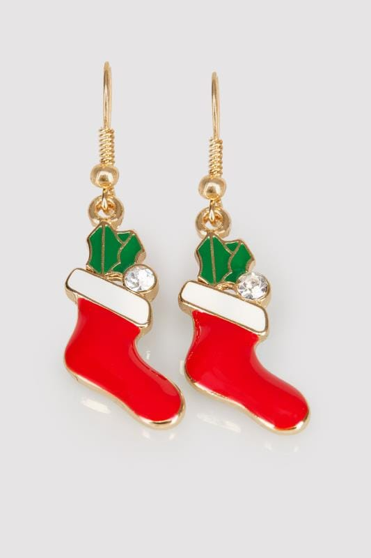 Gold & Multi Christmas Stocking Dangle Earrings