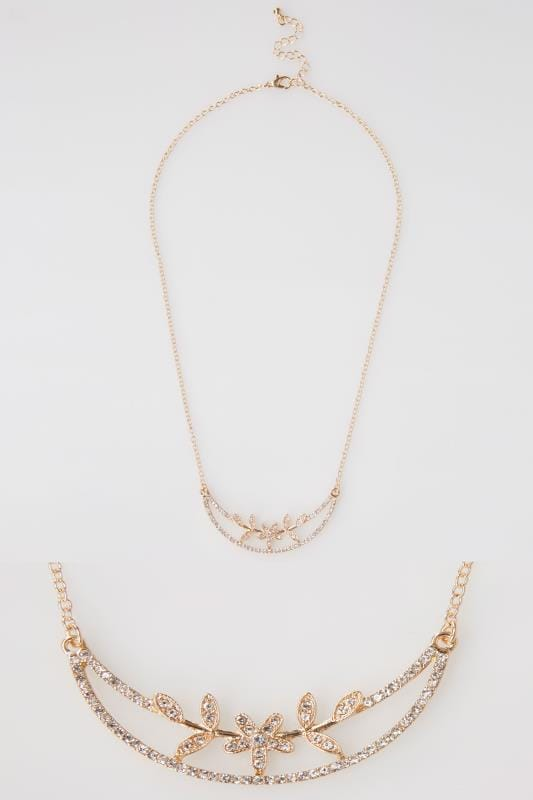 Gold Half Moon Diamante Flower Necklace