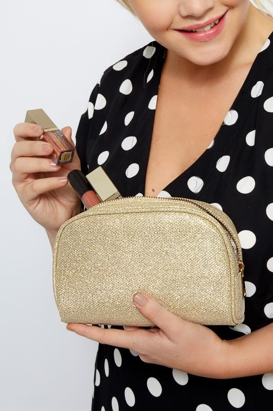Bags & Purses Gold Oval Glitter Make-Up Bag