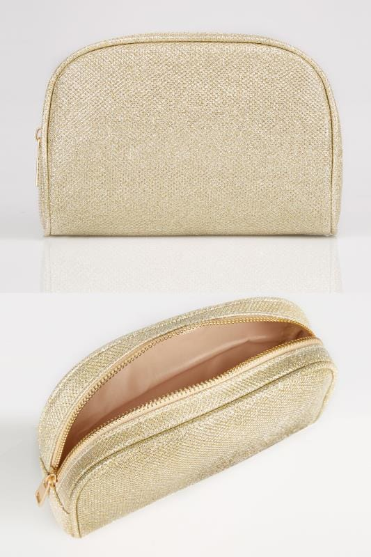Plus Size Bags & Purses Gold Oval Glitter Make-Up Bag With Zip Top