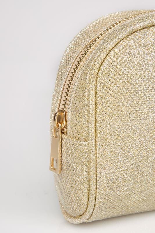 Gold Oval Glitter Make-Up Bag