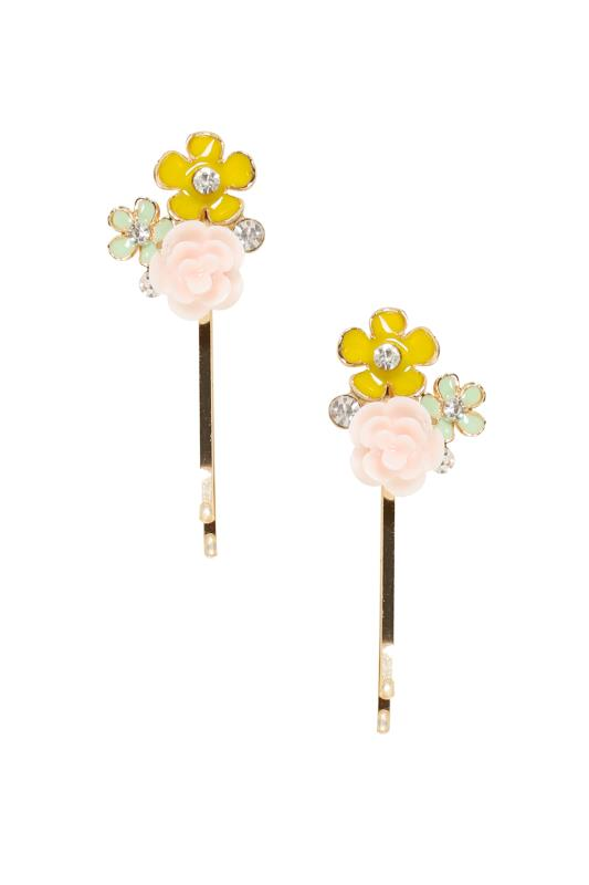 Plus Size Hair Accessories 2 PACK Gold & Pastel Hair Slides With Floral Diamante Detail