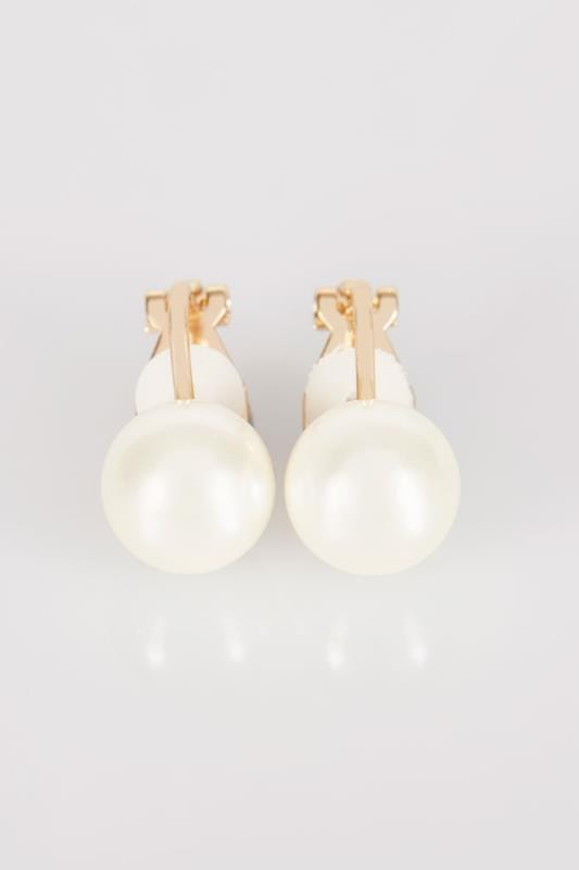 Gold Pearl Clip On Earrings