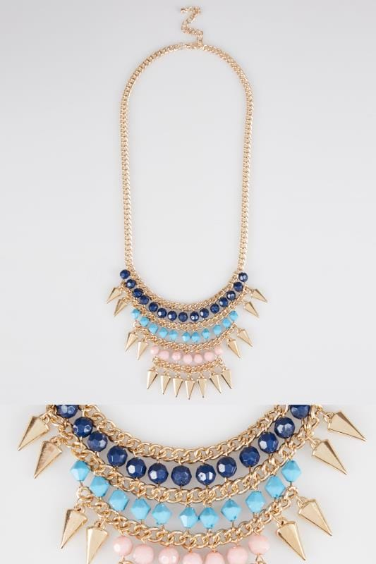 Plus Size Jewellery Gold, Pink Turquoise & Blue Statement Necklace