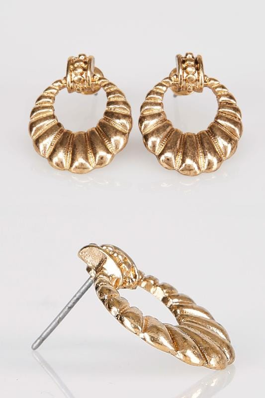 Plus Size Jewellery Gold Shell Circle Cut Out Earrings