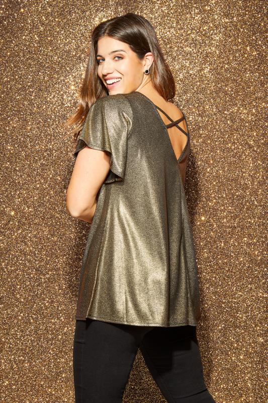 Plus Size Party Tops Gold Shimmer Cross Back Top